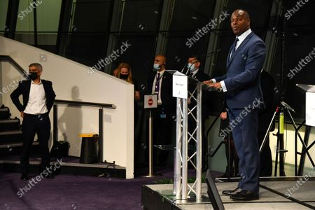 Conservative Party running mayoral candidate Shaun Bailey holds a speech after the result declaration at City Hall, in London, . Labour's Sadiq Khan was reelected mayor of London. Millions of people across Britain have voted on Thursday, in local elections, the biggest set of votes since the 2019 general election