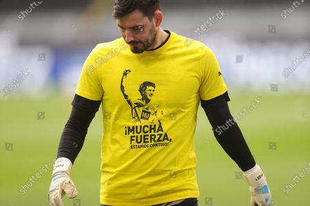 Dortmund's goalkeeper Roman Buerki wearing a shirt with the image of Dortmund's Mateu Morey before the German Bundesliga soccer match between Borussia Dortmund and RB Leipzig in Dortmund, Germany, 08 May 2021.
