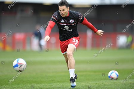 Crawley Town Defender Mark Wright (30)  warming upduring the EFL Sky Bet League 2 match between Crawley Town and Bolton Wanderers at The People's Pension Stadium, Crawley