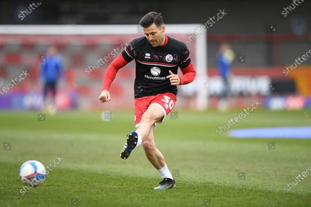 Crawley Town Defender Mark Wright (30) warming up during the EFL Sky Bet League 2 match between Crawley Town and Bolton Wanderers at The People's Pension Stadium, Crawley