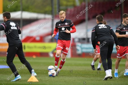 Stock Image of Crawley Town Midfielder Josh Wright (44)  warming up during the EFL Sky Bet League 2 match between Crawley Town and Bolton Wanderers at The People's Pension Stadium, Crawley