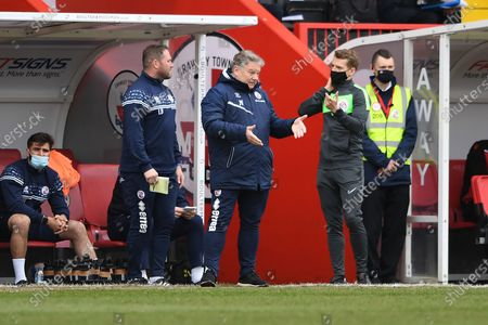 Crawley Town's Manager John Yems pointing, directing, signalling, gesture in the technical area during the EFL Sky Bet League 2 match between Crawley Town and Bolton Wanderers at The People's Pension Stadium, Crawley