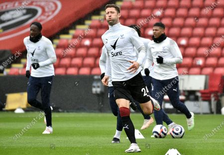 Gary Cahill (C) of Crystal Palace warms up prior to the English Premier League soccer match between Sheffield United and Crystal Palace in Sheffield, Britain, 08 May 2021.