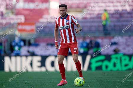 Stock Image of Saul Niguez of Atletico Madrid controls the ball during the La Liga Santander match between FC Barcelona and Atletico de Madrid at Camp Nou on May 8, 2021 in Barcelona, Spain. Sporting stadiums around Spain remain under strict restrictions due to the Coronavirus Pandemic as Government social distancing laws prohibit fans inside venues resulting in games being played behind closed doors.