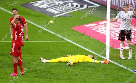 Moenchengladbach's goalkeeper Yann Sommer lays on the pitch during the German Bundesliga soccer match between Bayern Munich and Borussia Moenchengladbach at the Allianz Arena stadium in Munich, Germany