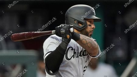 Chicago White Sox's Leury Garcia bats during the third inning of a baseball game against the Kansas City Royals, in Kansas City, Mo