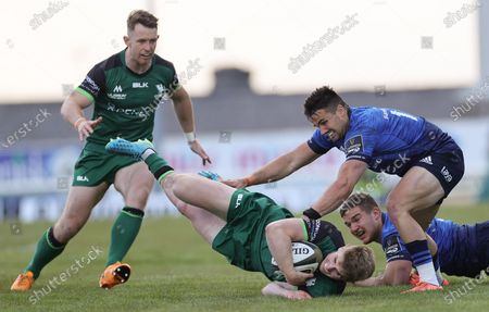 Connacht vs Leinster. Connacht's Matt Healy and Conor Fitzgerald with Cian Kelleher and Scott Penny of Leinster