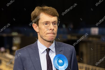 Midlands Mayor. The announcement of West Midlands Mayor in the elections 2021. Pictured, Andy Street, accepts his win.