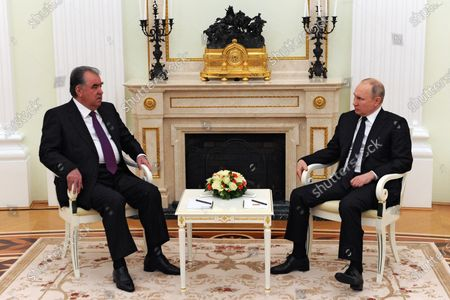 Russian President Vladimir Putin (R) and Tajik President Emomali Rahmon (L) during a meeting at the Kremlin in Moscow, Russia, 08 May 2021.