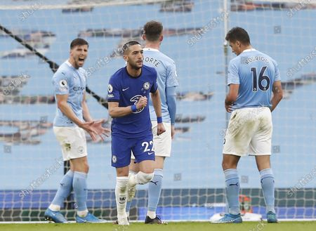 Hakim Ziyech of Chelsea celebrates scoring his team's opening goal during the English Premier League soccer match between Manchester City and Chelsea FC in Manchester, Britain, 08 May 2021.