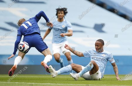 Raheem Sterling of Manchester City (R) in action against Timo Werner of Chelsea (L) during the English Premier League soccer match between Manchester City and Chelsea FC in Manchester, Britain, 08 May 2021.