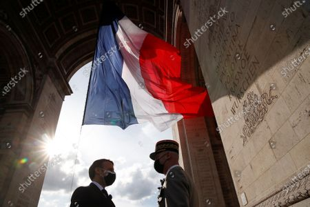 Editorial photo of Ceremony to mark the end of World War II at the Arc de Triomphe in Paris, France - 08 May 2021