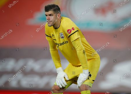 Southampton's goalkeeper Fraser Forster looks out during the English Premier League soccer match between Liverpool and Southampton at Anfield stadium in Liverpool, England