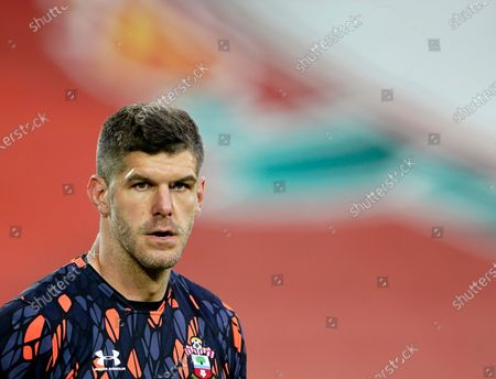 Southampton's goalkeeper Fraser Forster during warm up before the English Premier League soccer match between Liverpool and Southampton at Anfield stadium in Liverpool, England