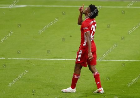 Bayern's Kingsley Coman celebrates his 4-0 goal during  the German Bundesliga soccer match between FC Bayern Munich and Borussia Moenchengladbach in Munich, Germany, 08 May 2021.