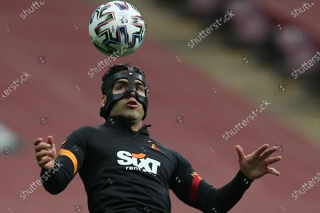 Radamel Falcao of Galatasaray warms up for the Turkish Super League soccer match between Galatasaray and Besiktas in Istanbul, Turkey, 08 May 2021.