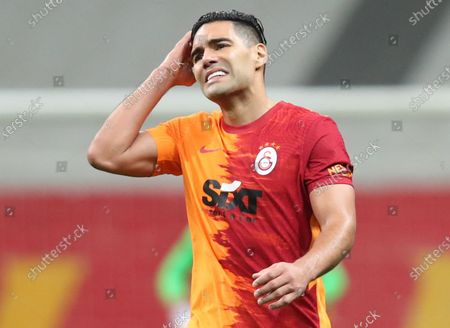 Radamel Falcao of Galatasaray reacts during the Turkish Super League soccer match between Galatasaray and Besiktas in Istanbul, Turkey, 08 May 2021.