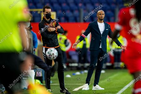 Anderlecht's head coach Vincent Kompany reacts during a soccer match between RSC Anderlecht and Royal Antwerp FC, Saturday 08 May 2021 in Brussels, on the day 2 out of 6, in the 'Champions' play-offs' of the 'Jupiler Pro League' first division of the Belgian championship.