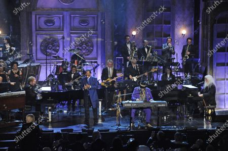 """From left, Elton John, Lloyd Price, Dr. John, and Leon Russell perform at the Rock and Roll Hall of Fame induction ceremony in New York. The New Orleans mainstay and Rock and Roll Hall of Famer has died. Price was known for such hits as """"Lawdy Miss Clawdy"""" and """"Stagger Lee."""" His wife Jackie said he died in New Rochelle, N.Y"""