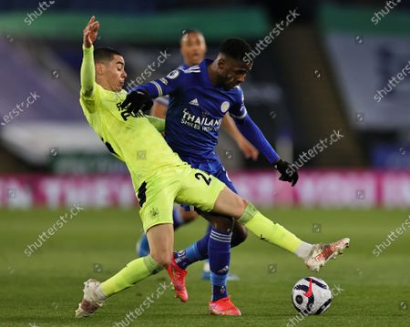 Kelechi Iheanacho of Leicester City is tackled by Miguel Almiron of Newcastle United during the Premier League match between Leicester City and Newcastle United at the King Power Stadium, Leicester on Friday 7th May 2021.