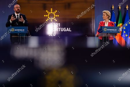 Press Conference by Prime Minister of Portugal Antonio Costa and Prime Minister of the Republic of India Narendra Modi(by video conference),the President of the European Council Charles Michel and the President of the European Commission Ursula Von der Leyen,at the Palacio de cristal in Porto, on 8 May, 2021, Porto, Portugal