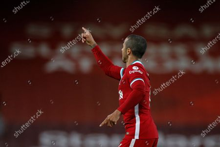 Stock Image of Liverpool's Thiago Alcantara reacts after scoring during the English Premier League soccer match between Liverpool FC and Southampton FC in Liverpool, Britain, 08 May 2021.