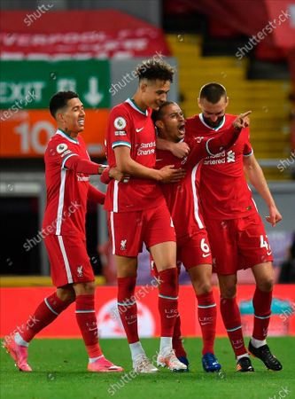 Stock Picture of Liverpool's Thiago Alcantara (2nd R) reacts after scoring during the English Premier League soccer match between Liverpool FC and Southampton FC in Liverpool, Britain, 08 May 2021.