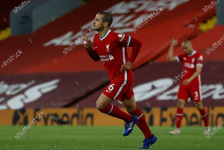 Liverpool's Thiago Alcantara reacts after scoring for 2-0 lead during the English Premier League soccer match between Liverpool FC and Southampton FC in Liverpool, Britain, 08 May 2021.