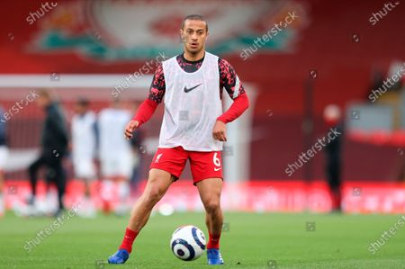 Liverpool's Thiago Alcantara warms-up for the English Premier League soccer match between Liverpool FC and Southampton FC in Liverpool, Britain, 08 May 2021.