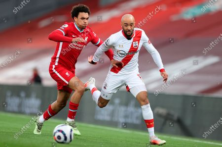 Stock Photo of Liverpool's Trent Alexander-Arnold (L) in action with Southampton's Nathan Redmond (R) during the English Premier League soccer match between Liverpool FC and Southampton FC in Liverpool, Britain, 08 May 2021.