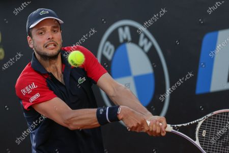 Gregoire Barrere of France in action during a tennis match against Yoshihito Nishioka of Japan at Internazionali BNL D'Italia in Rome, Italy on May 08, 2021.