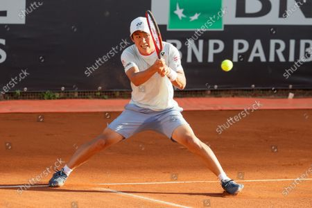 Yoshihito Nishioka of Japan in action during a tennis match against Gregoire Barrere of France at Internazionali BNL D'Italia in Rome, Italy on May 08, 2021.