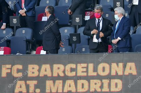 Joan Laporta and Enrique Cerezo during the match between FC Barcelona and Club Atletico Madrid, corresponding to the week 35 of the Liga Santander, played at the Camp Nou Stadium on 08th May 2021, in Barcelona, Spain.  --