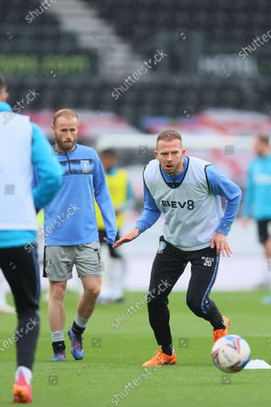 Stock Picture of Jordan Rhodes of Sheffield Wednesday warming up before the Sky Bet Championship match between Derby County and Sheffield Wednesday at Pride Park, Derby on Saturday 8th May 2021.