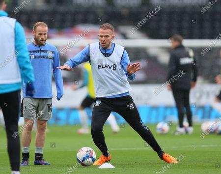 Jordan Rhodes of Sheffield Wednesday warming up before the Sky Bet Championship match between Derby County and Sheffield Wednesday at Pride Park, Derby on Saturday 8th May 2021.