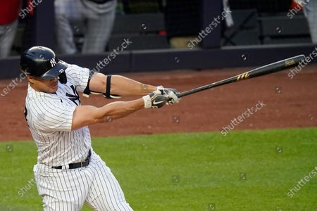 New York Yankees' Giancarlo Stanton during the first inning of a baseball game against the Washington Nationals, in New York