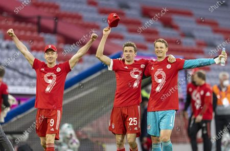 Stock Picture of Final jubilation: Robert Lewandowski (Munich), Thomas Müller (Munich), goalkeeper Manuel Neuer (Munich)