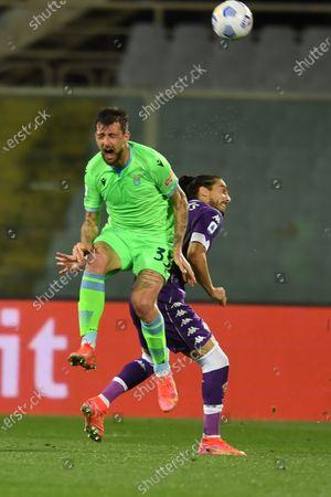 """Francesco Acerbi (Lazio)Jose Martin Caceres Silva (Fiorentina)                                         during the Italian """"Serie A"""" match between Fiorentina 2-0 Lazio  at  Artemio Franchi Stadium in Florence, Italy."""