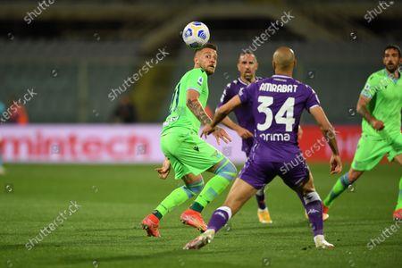 "Sergej Milinkovic-Savic (Lazio)Sofyan Amrabat (Fiorentina)                                         during the Italian ""Serie A"" match between Fiorentina 2-0 Lazio  at  Artemio Franchi Stadium in Florence, Italy."