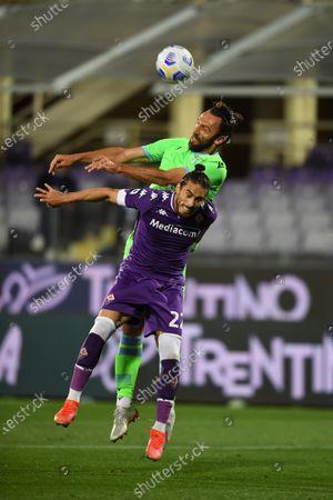 """Jose Martin Caceres Silva (Fiorentina)Vedat Muriqi (Lazio)                                         during the Italian """"Serie A"""" match between Fiorentina 2-0 Lazio  at  Artemio Franchi Stadium in Florence, Italy."""