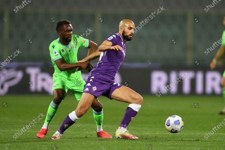 "Sofyan Amrabat (Fiorentina)Jean-Daniel Akpa-Akpro (Lazio)                                            during the Italian ""Serie A"" match between Fiorentina 2-0 Lazio  at  Artemio Franchi Stadium in Florence, Italy."