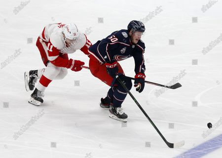 Columbus Blue Jackets forward Eric Robinson, right, chases the puck in front of Detroit Red Wings forward Filip Zadina during the third period of an NHL hockey game in Columbus, Ohio
