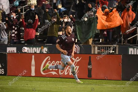 Stock Photo of Colorado Rapids defender Danny Wilson celebrates his goal against Minnesota United late in an MLS soccer match, in Commerce City, Colo