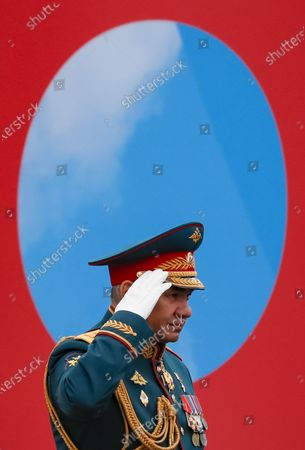 Russian Defense Minister Sergei Shoigu salutes during the Victory Day military parade in the Red Square in Moscow, Russia, 09 May 2021. Russia holds its Victory Day parade annually on 09 May to mark the surrender of Nazi Germany in 1945.