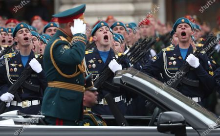 Stock Picture of Russian Defense Minister Sergei Shoigu salutes to his soldiers as he is driven along Red Square in the Aurus Senat car during the Victory Day military parade in Moscow, Russia, marking the 76th anniversary of the end of World War II in Europe