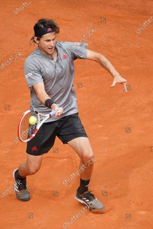 Dominic Thiem of Austria in action during his Men's Singles match, Semifinals, against Alexander Zverev of Germany on the ATP Masters 1000 - Mutua Madrid Open 2021 at La Caja Magica on May 8, 2021 in Madrid, Spain