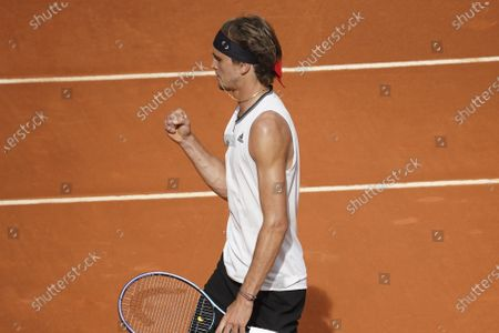 Alexander Zverev of Germany celebrates during his Men's Singles match, Semifinals, against Dominic Thiem of Austria on the ATP Masters 1000 - Mutua Madrid Open 2021 at La Caja Magica on May 8, 2021 in Madrid, Spain
