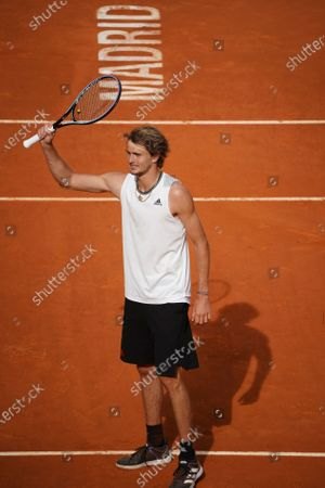Stock Picture of Alexander Zverev of Germany celebrates during his Men's Singles match, Semifinals, against Dominic Thiem of Austria on the ATP Masters 1000 - Mutua Madrid Open 2021 at La Caja Magica on May 8, 2021 in Madrid, Spain