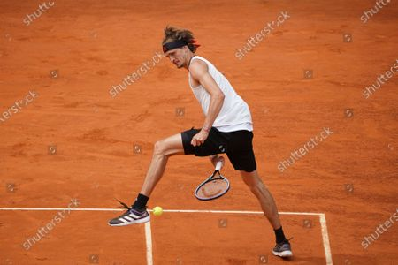 Alexander Zverev of Germany in action during his Men's Singles match, Semifinals, against Dominic Thiem of Austria on the ATP Masters 1000 - Mutua Madrid Open 2021 at La Caja Magica on May 8, 2021 in Madrid, Spain