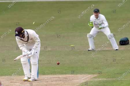 WICKET - Jordan Clark is bowled by Chris Wright during the final day of the LV= Insurance County Championship match between Leicestershire County Cricket Club and Surrey County Cricket Club at the Uptonsteel County Ground, Leicester
